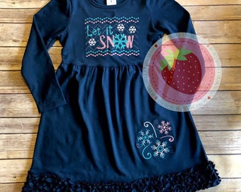 Let it snow, snowflake, embroidered dress