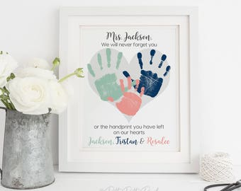 Babysitter Gift for Nanny, Daycare, Teacher, Handprint Heart Personalized Thank you Gift, Your Child's Handprints, 8x10 or 11x14 UNFRAMED