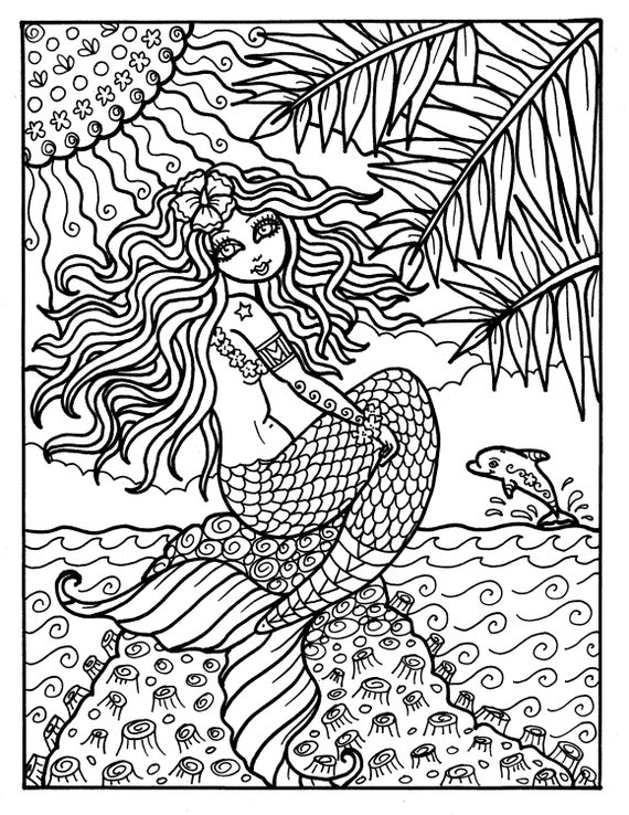 Instant Download Digi Stamp Mermaid From Hawaii Adult Coloring