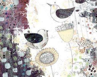 Bird Artwork Digital Art - Printable Artwork , Floral Art Print , Living Room Wall Art Instant Download