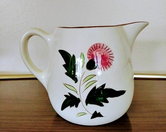 Stangl Pink Thistle Pitcher, Small 32 Oz Stangl Pitcher, Scottish Thistle Pitcher, Small Hand Painted Pitcher, Mid Century 1 Quart Jug