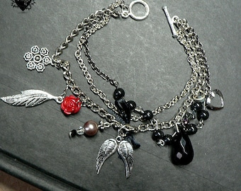 Gothic Rocker Red Rose Angel Wing Feather Silver Chain Charm Bracelet