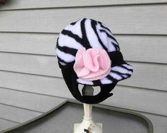 childs winter hat in Zebra print