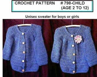 CROCHET PATTERN SWEATER, Children sizes age 2 to age 12, Children's clothing,  Blue Jeans Cardigan, #798-Child,