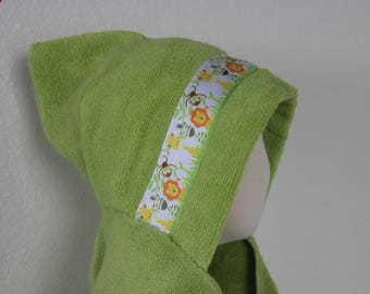 Jungle Animals Hooded Towel, Green or Yellow - For babies, toddlers, preschoolers and beyond!