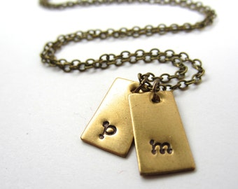 Little Tag Initial Necklace Two Initial Charm Necklace Personalized Jewelry Mommy Jewelry Custom Initial Jewelry Necklace Mother's Day Gift