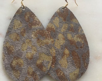 Gold Leopard Print Leather Earrings