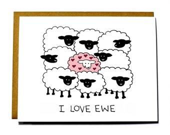 I Love You, I love ewe card, sheep, funny Valentine's Day card
