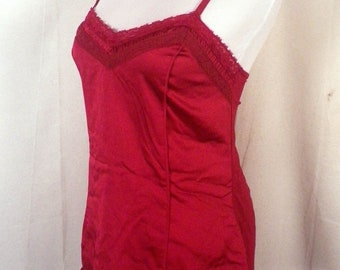 euc White House Black Market dark red Lingirie Sweetheart slip top SZ S