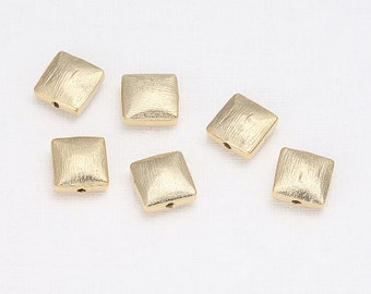 Satin Square Beads Matte Gold-Plated - 4 Pieces [B0005-MG]