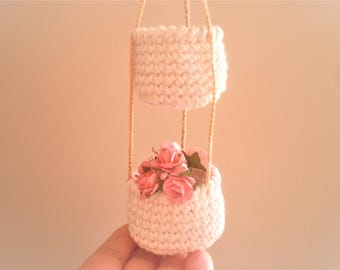 2 Tier Little Crochet Baskets, Miniature Hanging Baskets, Country Decor, Natural Home Decor, Cozy Home Decor, Gift for Women,