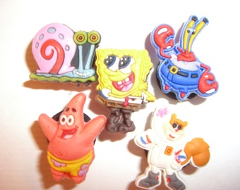 5 SpongeBob Cartoon Button Shoe Charms for Jibbitz bracelets or Crocs shoes