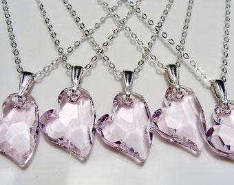 Swarovski Crystal Pink Heart Sterling Silver Necklace