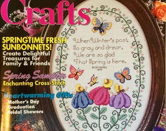 Sunbonnet Crafts Magazine - Spring 1994 - Quilting - Plastic Canvas - Dollmaking Woodcrafts - 17 Projects