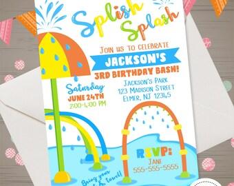 SPLISH SPLASH Birthday Invitation Splash Pad Invitation Water Park Birthday Invitation Splash Party Invite Summer Invitation Outdoor Party