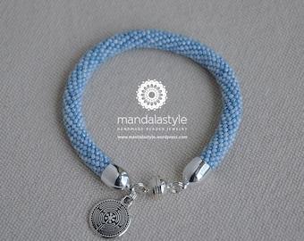 Mandala Style's bangle - Marble white blu
