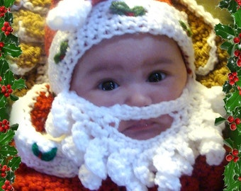 Santa Hat with attached Beard Crochet Pattern PDF 500 3sizes to make
