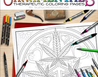 Peace Love and Toke Mandala Coloring Page OrnaMENTALs #0024 PDF