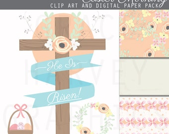 Easter Clip Art and Flower Digital Paper Pack EPS PNG Instant Download Small Commercial Use Clip Art Package, Flower Wreath and Cross
