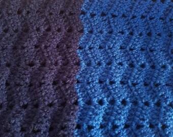 Vibrant Blue Crochet Lap Rug, Cot Pram Blanket, Zig Zag Dense and Thick