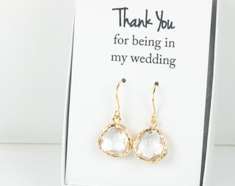 Clear Gold Earrings, Gold Crystal Earrings, Crystal Wedding Jewelry, Bridesmaid Gift, Bridesmaid Earrings, Crystal Bridal Accessories