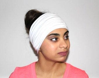 White Headband, Extra Wide Jersey Headband, Yoga Headband, Running Headband, Workout Headband, Fitness Headband, Turban Headband