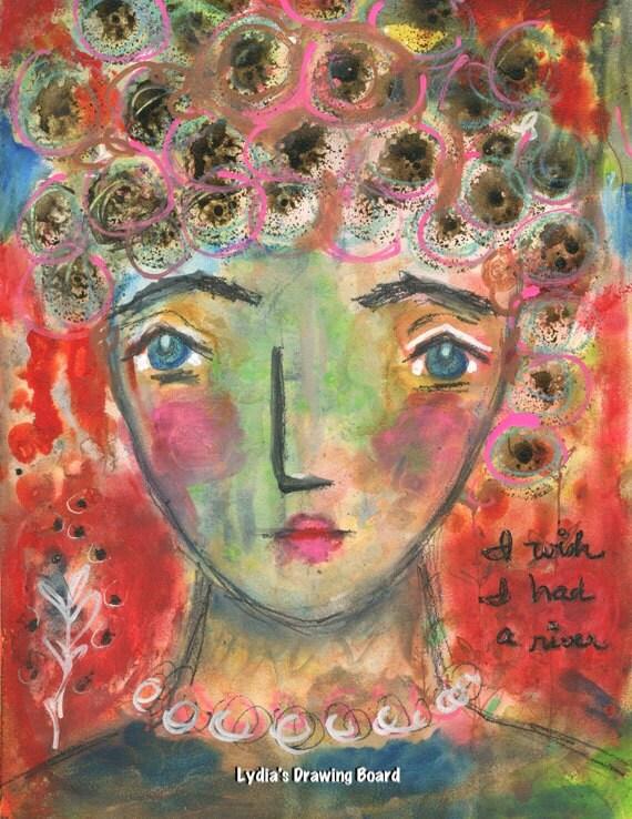 River, Joni Mitchell, Mixed Media Print, Prints, Art Prints, Women Art, Sad Songs, Skate, Emotions, Red Art, Christmas, Christmas Gifts
