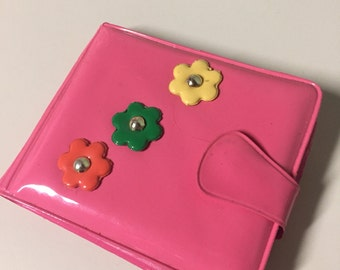 Vintage Pink with Flowers Snap Vinyl Wallet Made in Hong Kong