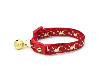 Moon Cat Collar - Gold Moons and Stars on Crimson - Breakaway Cat Collar - Kitten or Large size - Glow in the Dark