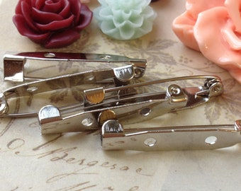 25 mm Platinum Plated Pin Back Brooch Safety Pin Findings (.mac)