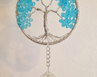 Tree of Life Sun Catcher,Turquoise Crystal Window Ornament,Hanging Wire Tree,Healing Gemstone,Birthstone Gift,Crystal Hanging Beaded Tree