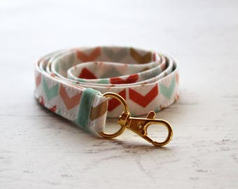 Arrows print lanyard - cute lanyard - teachers lanyard - key fob lanyard - key holder - mint lanyard - coral lanyard - fabric lanyard