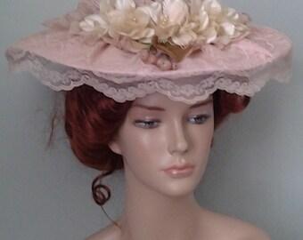 Ladies's Rose Beige Victorian Style Broad Brimmed Hat