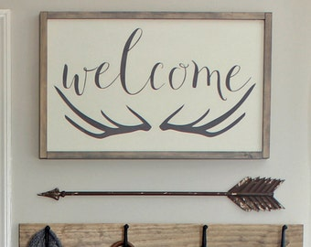 "Welcome Antlers Wood Sign - 16"" x 25 1/2"""