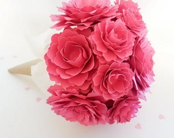Raspberry Pink Paper Flower Gift Bouquet | Gifts for her | Ready Made |Handmade Gifts | Mother's Day