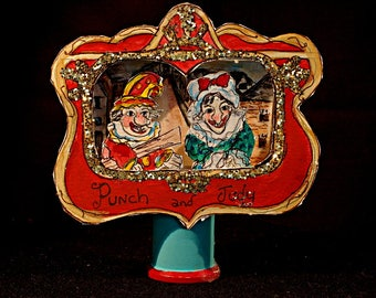 Original 3-D Original Art Diorama Punch and Judy Puppets in Altoids Box