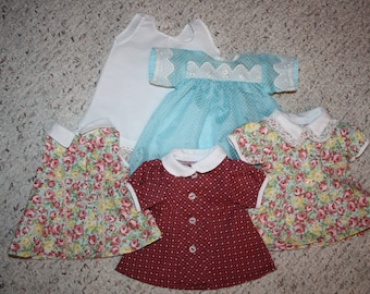 Set of Four Handmade Shirley Temple Doll Dresses doll not included