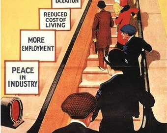 Vintage 1929 Conservative Party Escalator to Prosperity UK Election Poster A3/A2/A1 Print