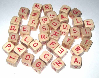 Vintage Scrabble Cubes Letters or Game Pieces Wooden Dice with Red Letters from RSVP Game Set of 37