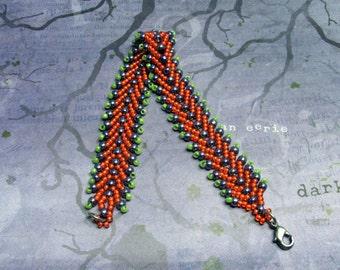 Orange Halloween Bracelet, Halloween Bracelet, Seed Bead Bracelet, Orange Bracelet, Holiday Bracelet, Beadwoven Bracelet, Halloween Jewelry