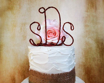Rustic Monogram Wedding Cake Topper, Rustic Centerpiece, Anniversary Party, Bridal Shower Decoration, Engagement Party Cake Decoration