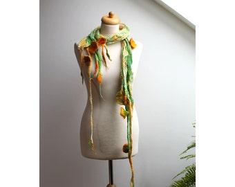 Nuno Felted Scarf Spring Green Grass Shawl Wrap Chunky Texture Silk Wool