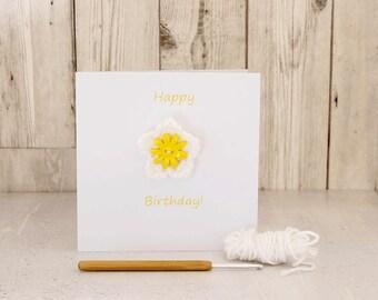 Greetings Card - Happy Birthday! - removable crochet flower brooch badge pin