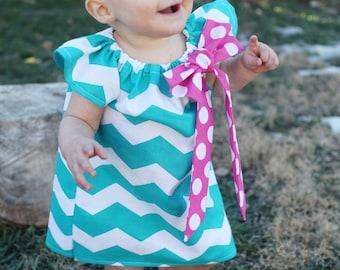 Turquoise Teal Chevron Pink Polka Dot Bow Peasant Dress - Baby Girl