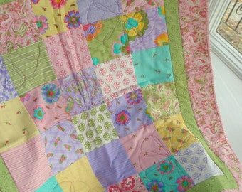 Sweet Baby Jane Handmade Lap Quilt - Pinks, Greens, Lavender, Aqua and Yellow