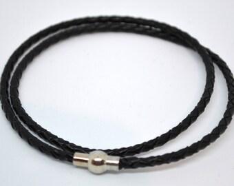 Fake bracelet black Leather
