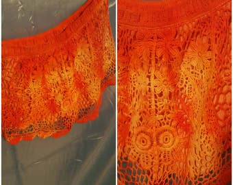 OOAK by SuElles-Size small-Teen-Flame orange-Lace-Ladies shorts-Summer time-Concert clothing-Remade-Gypsy-Art to wear-Feminine-ORANGE