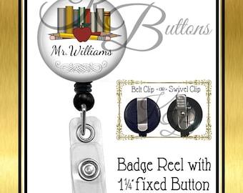 Custom Teacher Badge Reel, Personalized Books Badge Reel, Name Badge Reel, Retractable Badge Reel, Teacher Gift, Coworker Gift, BRT003