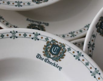 The Checkley House Hotel, Scarborough Maine hotel china, Grand hotel china, Syracuse china soup bowls, Seacoast Maine, Old Ivory china