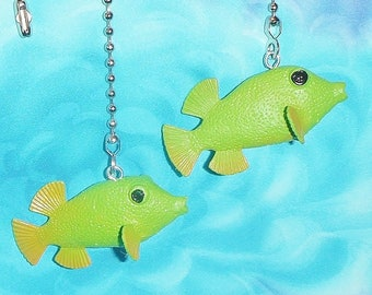 Set of Two ~ Green Fish Ocean Sea ~ Ceiling Fan Pulls